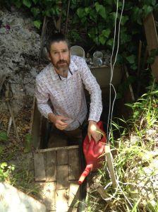 Still water runs deep. Inside Bauer's self-dug well.