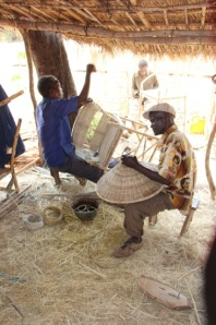 Basket Crafters in Malawi weaving chairs and lampshades to be exported from Cape Town.