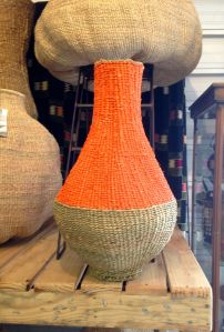 Naturally died pop of color through the basket transforms the traditional basket into a contemporary piece.