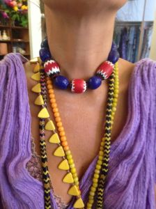 Blue, white and red thick CHEVRON beads from Nigeria are some of the rarest and most expensive beads in the world today. Traditionally they are worn by Kings and centuries ago were traded by Europeans for slave labor in West Africa.