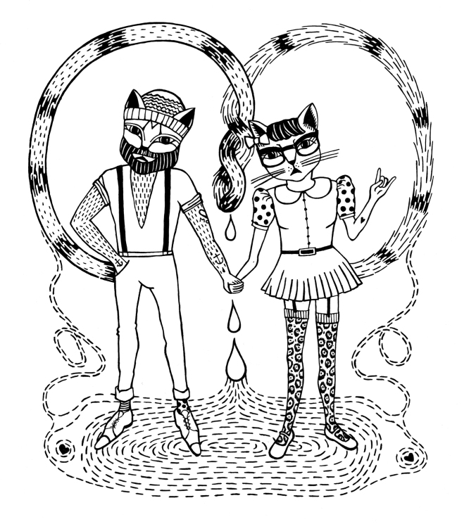 """Hipster Cats"" Illustrations by Marista for WK."